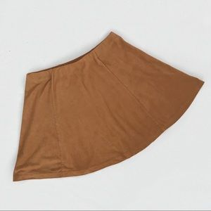 Camel Brown Faux Suede Skirt